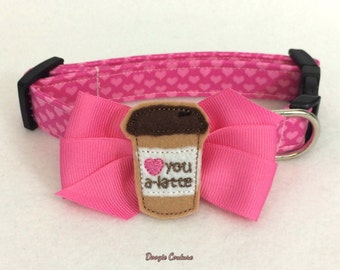 Love You A Latte Dog Collar Size XS through Large by Doogie Couture Pet Boutique