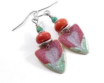 Red and Turquoise Triangle Swirl Earrings, Silver Earrings, Antique Silver Earrings, Artisan Earrings, Boho Earrings, Paint and Resin, AE065