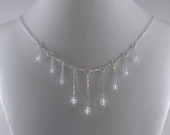 Crystal and Sterling Waterfall Necklace - Sterling Silver Necklace - Waterfall Necklace - Crystal Necklace - Swarovski Necklace - N054