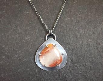 Copper Rutilated Quartz & Oxidized Sterling Silver Pendant