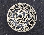 Pottery Bowl, Salad Plate, Handmade Bowl, Ceramic Bowl, Black and White Plate, Animal Print, Organic Shape
