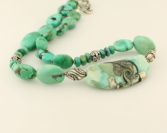 Lampwork Necklace, Turquoise  Gemstones, Sterling Silver 'By the Sea'