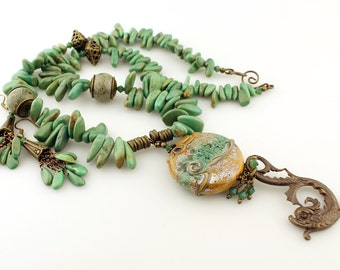 Lampwork Necklace and Earrings, Antique Brass, Turquoise Gemstones, Beaded Jewelry 'Sea Serpent'