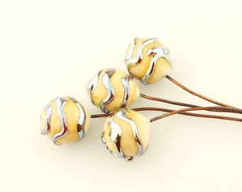 Lampwork Glass Bead Head Pins,  Ivory with Iridescent Swirls, Headpin on Antique Copper Wire