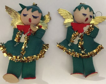 "Vintage Pixie Angel cloth figures 6"" tall pair of 2 Angels carolers"