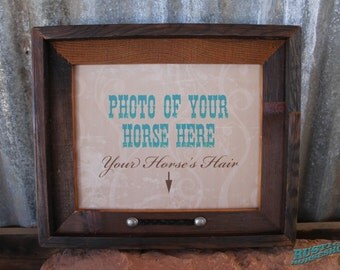 Memoir Picture Frame Horse Memorial with Your Horse's Braided Tail Hair Inlaid and Name Branded on Frame Barnwood or Pine Photo Frame