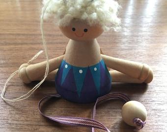 Vintage Swedish Wooden Pull String Doll