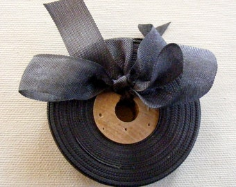 Vintage French Woven Ribbon -Milliners Stock- 5/8 inch 1930's-40's Charcoal Grey