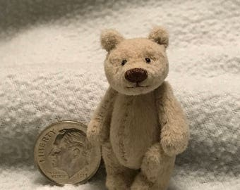 1-1/2in. Hand Sewn BEIGE Cashmere Miniature Teddy Bear