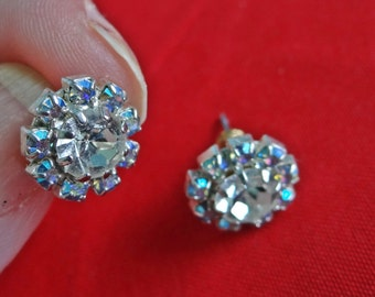 """Vintage silver tone .5"""" pierced  earrings with clear and aurora borealis coated rhinestones in great condition, appears unworn"""