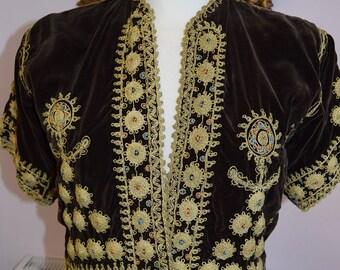 1930/40's Embroidered Velvet Bethlehem Jacket
