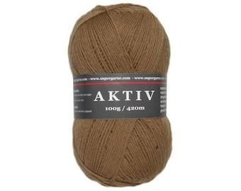 Supergarne Sock Yarn Aktiv superwash 4-ply Uni Solid 100g/459yd #2506 brown