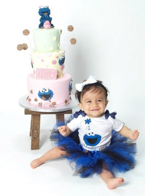 COOKIE MONSTER Birthday Girl Personalized Name and Age Shirt Onesie or Tank Top Birthday Shirt