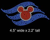 "4.5"" Disney Cruise Logo iron on rhinestone transfer applique patch"
