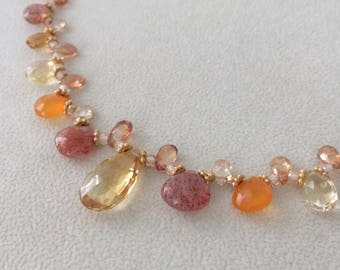 Semiprecious Gemstone Necklace in Gold Vermeil with Yellow and Golden Citrine, Sunstone, Orange Carnelian, Mystic Topaz, Zircon Orange Gems