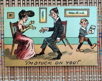 Stuck on You:  Goofy, Punny Vintage Postcard