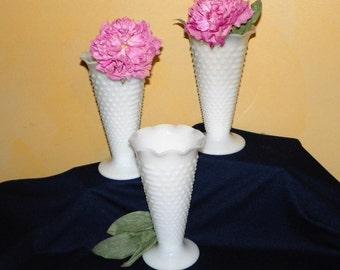 "Hobnail Milk Glass  9"" High Trumpet Vases, Set of 3 Large Centerpiece Vases, Weddings, Showers, Events (2 Sets Available)"