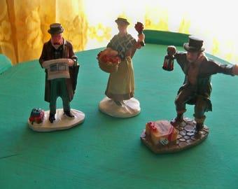 3 vintage lemax figurines miniatures