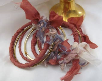 Stacking Bangle Bracelets Textile Silk Set of 7 Dark Pink Gold (#30)