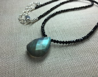 Black Spinel Necklace with Labradorite Briolette in Sterling Silver #2