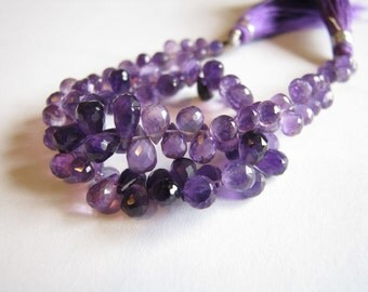 AAA shaded Amethyst, faceted teardrop briolettes, 5-8mm, long 9 inch strand (w82)
