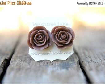 SALE Large Chocolate Brown Rose Earring << Bridesmaid Gifts >> Bridesmaid Earrings << Rustic Wedding