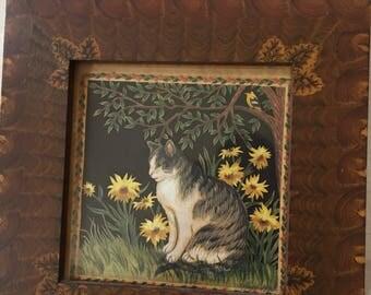 Maine artist Claudia Hopf cat with daisy painting