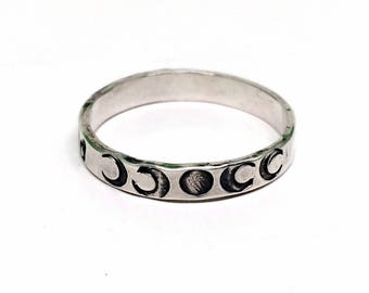 Personalized Moon Phase Ring - Silver - Moon Phases - Moon Child Jewelry for Women