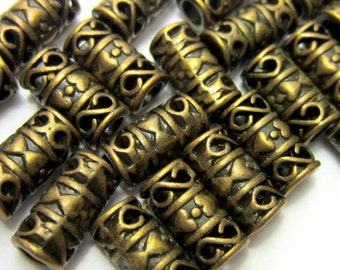 36 Antique bronze beads tube beads tribal boho hippie jewelry supply large hole bronze metal beads 6mm x 12mm HP56Y-(Z7)