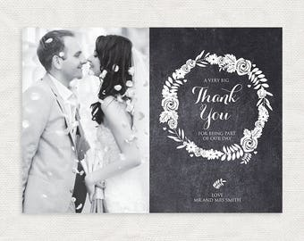 wedding photo thank you card chalk floral - printable diy - chalkboard wreath, customised personalised, elegant black and white flowers rose