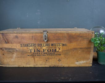 Large 1920s Tin Foil Wooden Crate w/ Lid and Removable Inner Compartment.