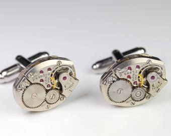 Steampunk Cufflinks Vintage Elgin Watch Movement Mens Gear Cuff Links by Steampunk Vintage Design