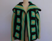 RESERVED 70s hand knit GRANNY SQUARES sweater jacket cardigan size medium