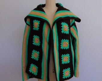 70s hand knit GRANNY SQUARES sweater jacket cardigan size medium