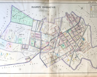 Original 1910 Delaware County Atlas map of Darby Township