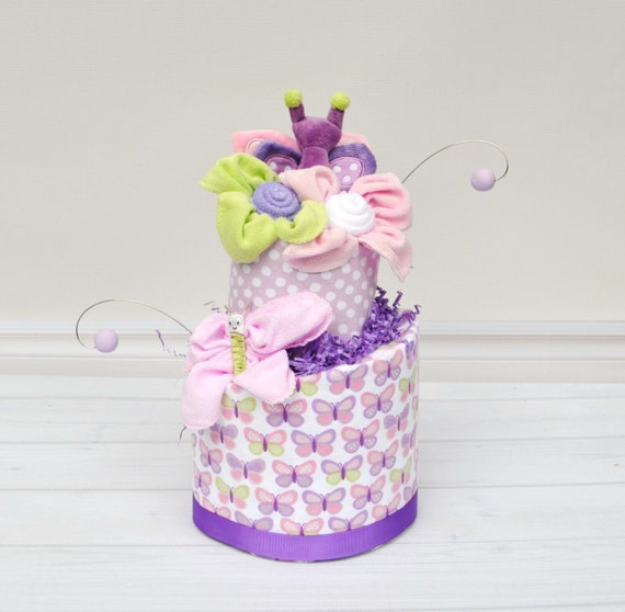 Butterfly Baby GIft, Butterfly Diaper Cake, Pink and Purple Diaper Cake, Baby Girl Gift, Baby Shower Ideas, Butterfly Nursery, Baby Gifts