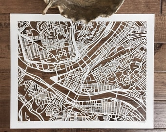 pittsburgh hand cut map