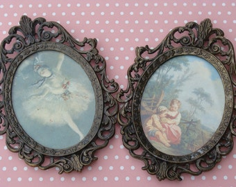 Pair of Vintage Small Prints in Italian Metal Frames