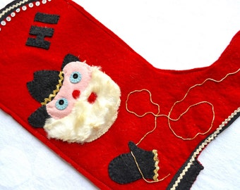 Vintage Christmas Stocking - Felt Cowboy Boot and Lasso Appliqué