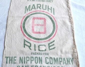 Vintage Fabric Rice Sack - 1957 Maruhi Nippon San Francisco 50 Lb Muslin Bag