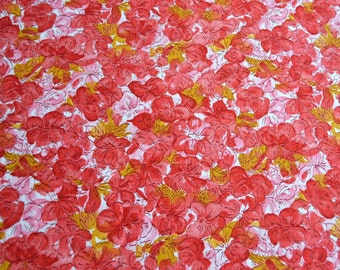 Vintage Fabric - Red Pink and Yellow Pansy Floral - 42 x 39