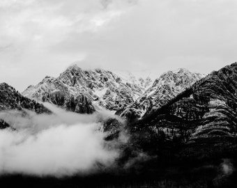 mountain photo, rocky mountains, fine art print, home decor, nature photography, home wall art, canvas, white dramatic winter gift ideas