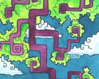 "Whimsical Gamer Illustration ""A New Quest"" ARCHIVAL ART PRINT"