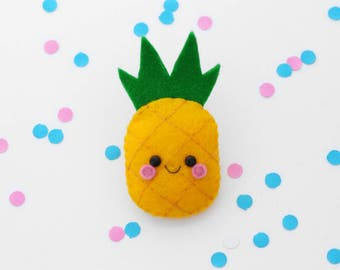 Pineapple Felt Brooch, Tropical Fruit Pin, hannahdoodle, Made in England