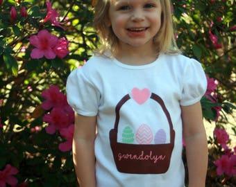 Easter Shirt for Toddlers, Children, Babies, Personalized, Girl, Easter Eggs, Easter Basket, Easter Gift, Monogrammed Easter Shirt, Girlie