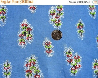 SALE:) Vintage 1930's 40's Full NOVELTY Feed Sack Cotton Fabric -  - Lime Green & Red Ring Toss - 36 x 44 inches