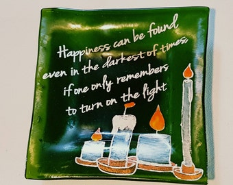 """Recycled Glass """"Turn On The Light"""" Harry Potter Square Dish"""