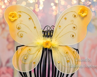 Gold Yellow Butterfly Wings, Glitter with Flowers, Baby Girl Bumble Bee Costume, First Birthday Party, Honey Dress Up Photo Prop Outfit