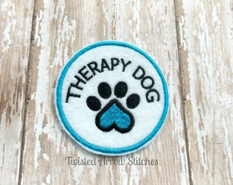 Therapy Dog Embroidered Patch, Pick A Color