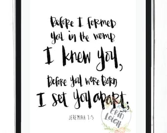 Before I formed you in the womb, I knew you. Before you were born, I set you apart. Jeremiah 1:5, boy's room art, girl's room art